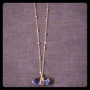 Blue and White Pendant Gold Necklace